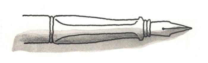 Ilustración realizada con una pluma estilográfica cargada con tinta no soluble al agua, sobre la que se ha aplicado una aguada con grafito acuarelable