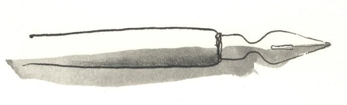Ilustración realizada con plumilla y tinta de dibujo sobre la que se ha aplicado una mancha con grafito acuarelable