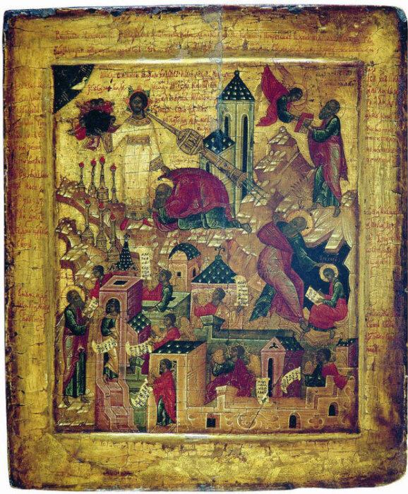 Icono del siglo XVI con imágenes del Apocalipsis.