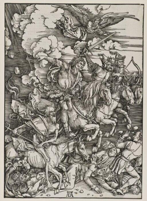 A. Durero. Los cuatro jinetes del Apocalipsis. F. Wimedia Commons.